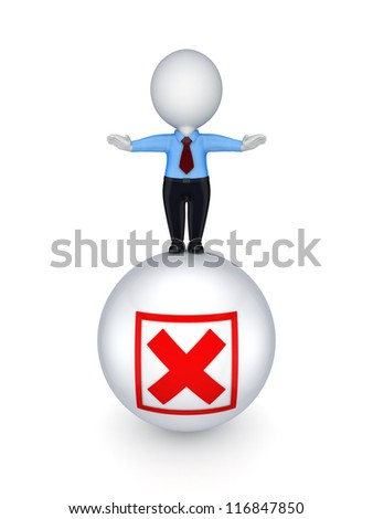 3d small person on a ball with cross mark.Isolated on white background. - stock photo