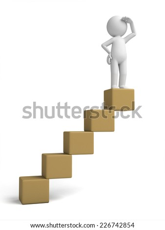 3d small person on a stack of cubes. 3d image. Isolated white background