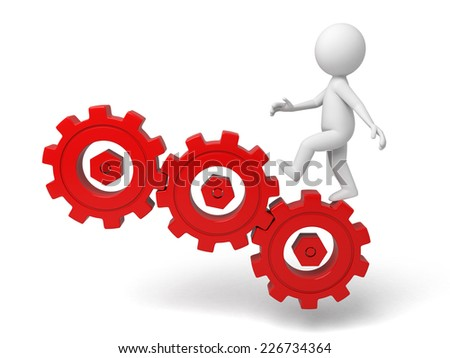 3d small person on three large gears. 3d image. Isolated white background - stock photo