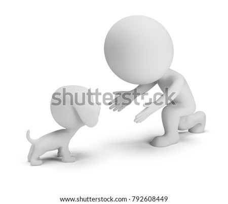 3d small person playing with his dog. 3d image. White background.