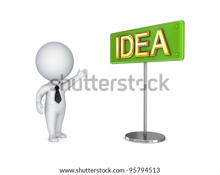 3d small person pointing on a bunner IDEA.Isolated on white background.