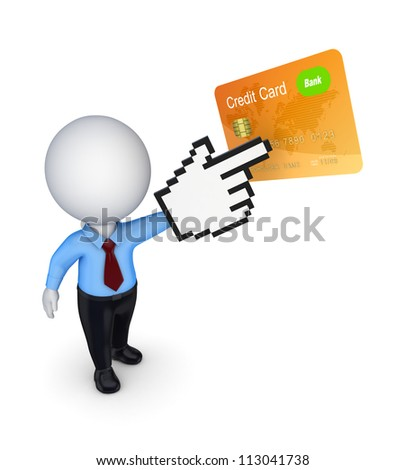 3d small person pointing to credit card.Isolated on white background.3d rendered. - stock photo