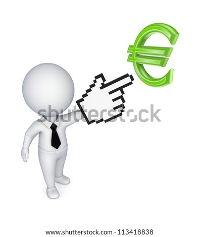 3d small person pointing to dollar symbol.Isolated on white background. - stock photo