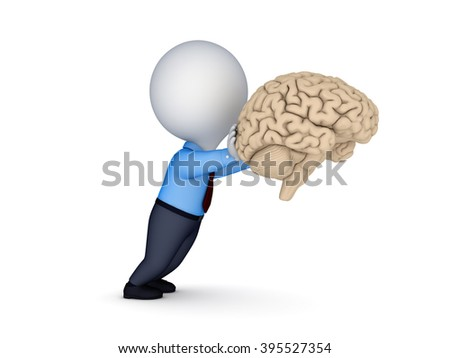 3d small person pushing a human brain isolated on white. - stock photo