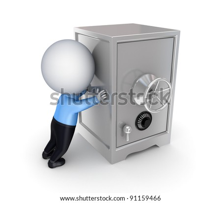 3d small person pushing an iron safe.Isolated on white background.