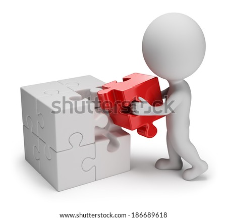 3d small person putting on a red puzzle in cell. 3d image. White background. - stock photo