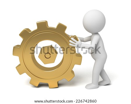 3d small person rolls a large gear. 3d image. Isolated white background