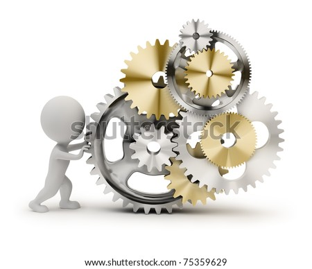 3d small person rotates the mechanism from gears. 3d image. Isolated white background. - stock photo