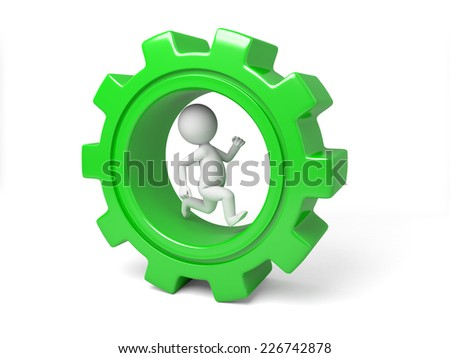 3d small person running in a large gear. 3d image. Isolated white background - stock photo