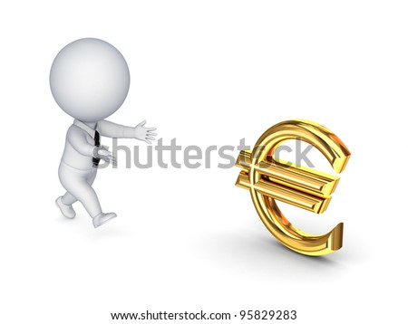 3d small person running to a euro sign.Isolated on white background.