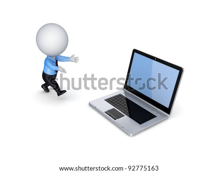 3d small person running to a modern notebook.Isolated on white background.