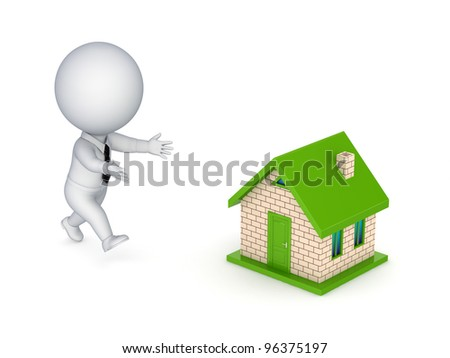 3d small person running to a small house.isolated on white background. - stock photo