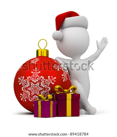 3d small person - Santa with gifts and a Christmas ball. 3d image. Isolated white background. - stock photo