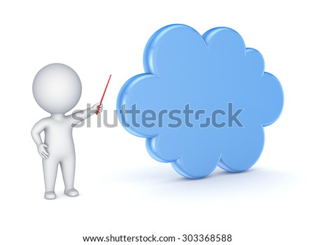 3d small person showing to a symbol of cloud. - stock photo