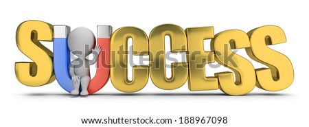 3d small person sitting in the inscription success inside the magnet. 3d image. White background. - stock photo