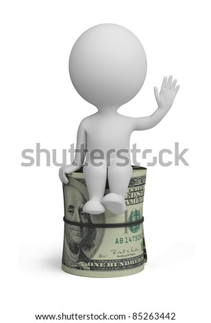 3d small person sitting on a roll of dollars. 3d image. Isolated white background. - stock photo