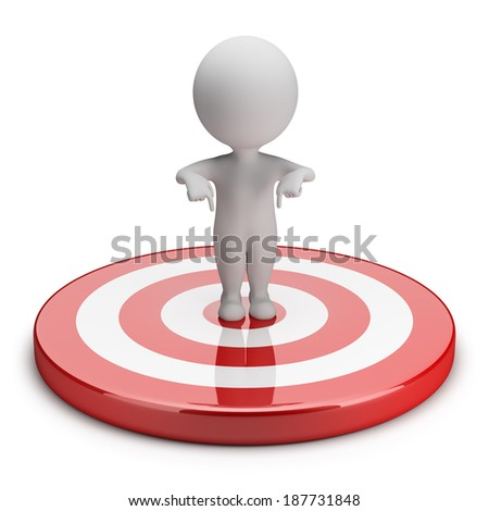 3d small person standing in the middle of the goal. 3d image. White background. - stock photo