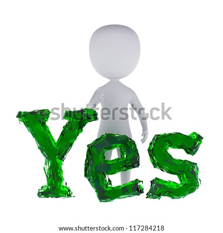3d small person standing near to an yes icon. 3d image. Isolated white background. - stock photo