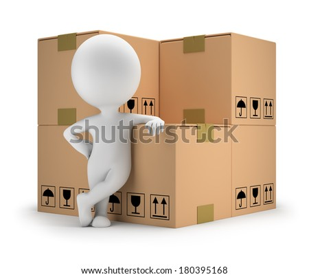 3d small person standing next to cardboard boxes. 3d image. White background. - stock photo