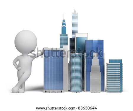 3d small person standing next to skyscrapers. 3d image. Isolated white background. - stock photo