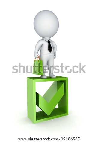 3d small person standing on a green tick mark.isolated on white background.3d rendered.