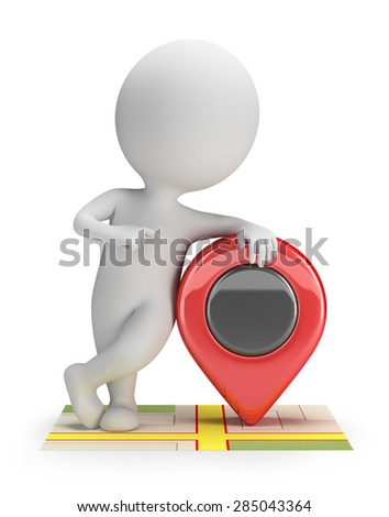 3d small person standing on the map with a pointer. 3d image. White background.