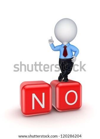 3d small person standing on word NO.Isolated on white background. - stock photo