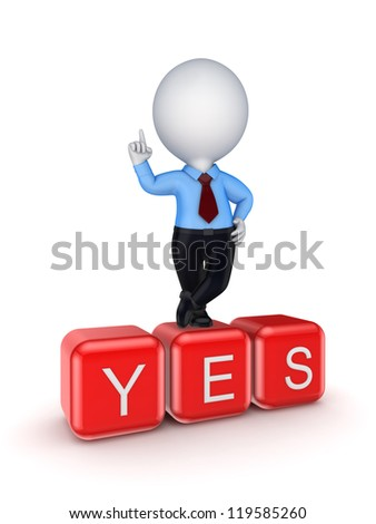 3d small person standing on word YES.Isolated on white background. - stock photo