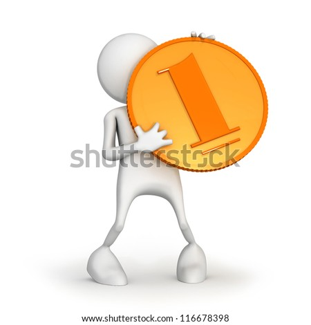 3d small person standing with a gold coin in the hands. - stock photo