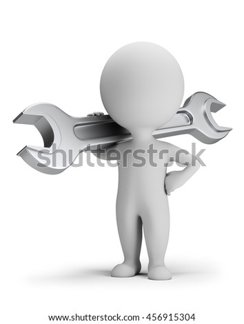 3d small person standing with a wrench over his shoulder. 3d image. White background.
