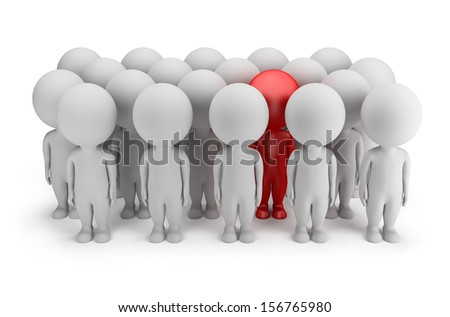 3d small person - stands out in a crowd of people in red. 3d image. White background. - stock photo