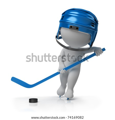 3d small person - the hockey player on the fads with a stick and a helmet. 3d image. Isolated white background. - stock photo