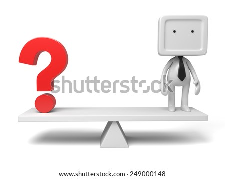 3d small person thinking with a question mark. 3d image. Isolated white background - stock photo