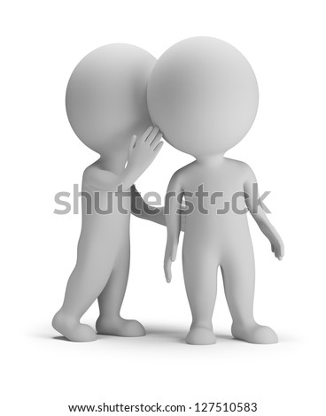 3d small person whispering in his ear to another person. 3d image. White background.