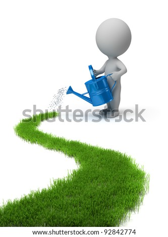3d small person who waters the way of watering the grass. 3d image. Isolated white background. - stock photo
