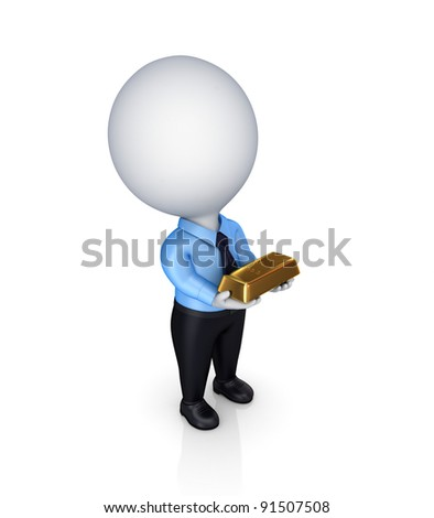 3d small person with a a golden bar in a hands.Isolated on white background.