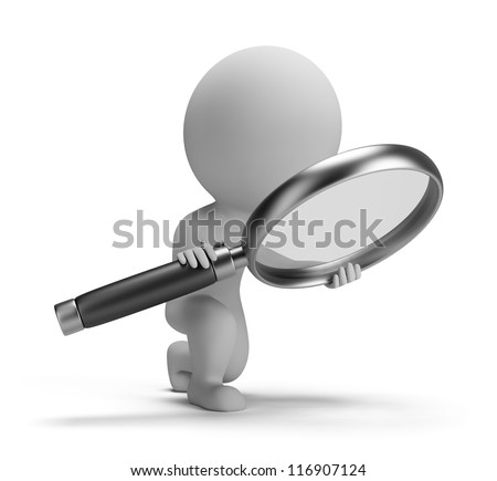 3d small person with a big magnifying glass. 3d image. Isolated white background. - stock photo