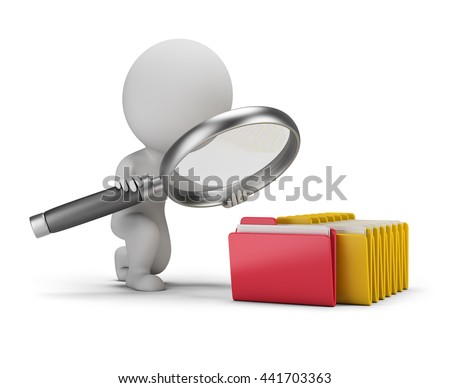 3d small person with a big magnifying glass looks for documents in folders. 3d image. White background.