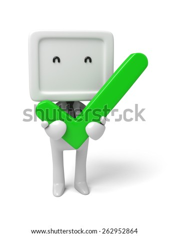 3d small person with a big tick. 3d image. Isolated white background - stock photo