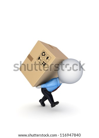 3d small person with a carton box on the back.Isolated on white background.