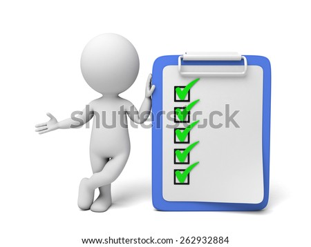 3d small person with a clipboard. 3d image. Isolated white background - stock photo