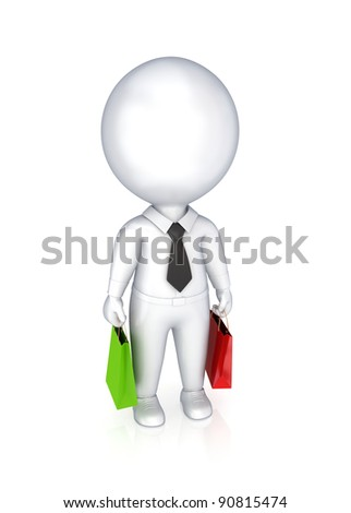 3d small person with a colorful packets.Isolated on white background.3d rendered.