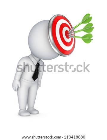 3d small person with a dartboard on a head.Isolated on white background. - stock photo