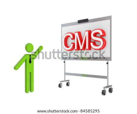 3d small person with a flipchart and big word CMS.Isolated on white background. - stock photo