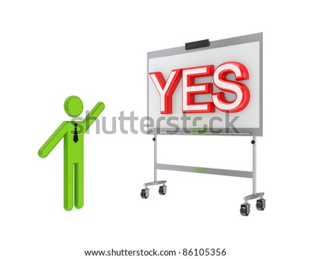 3d small person with a flipchart and big word YES.Isolated on white background. - stock photo