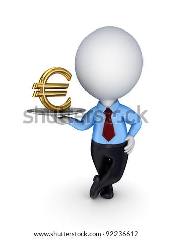 3d small person with a golden dollar sign on a dish.Isolated on white background.