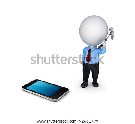 3d small person with a hammer in a hand and mobile phone.Isolated on white background. - stock photo