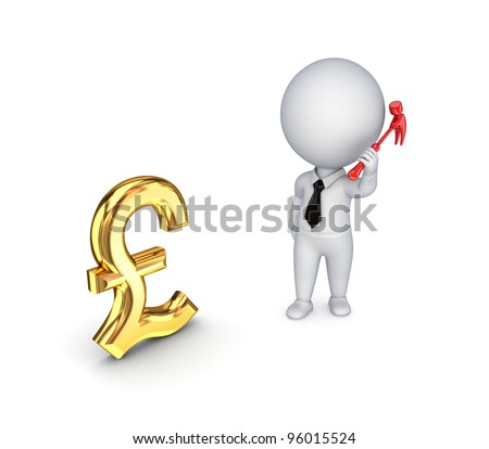 3d small person with a hammer in a hand and pound sterling sign. - stock photo