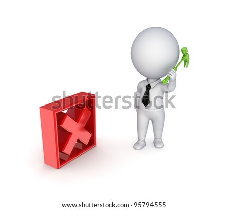 3d small person with a hammer in a hand and tick mark.Isolated on white background. - stock photo