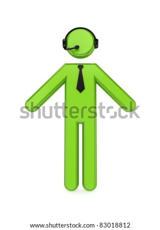3D small person with a headphones . Online broker concept. Isolated on white background.